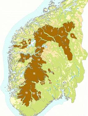 Map that shows wild populations of reindeer in Norway