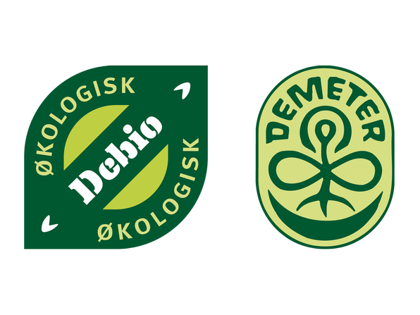 Biodynamiske produkter er merket med både Ø-merket og Demetermerket.